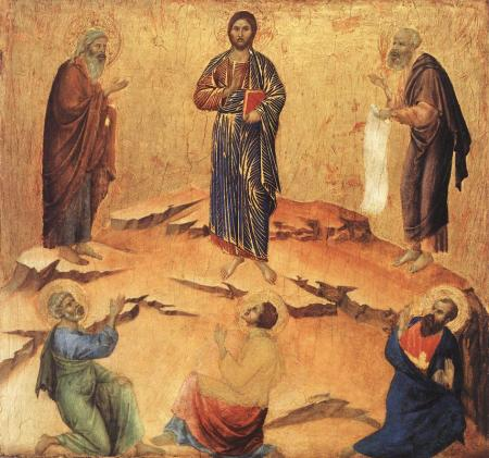 The Transfiguration, by Duccio, active 1278-1319.  Moses sees the glory of God  face to face!