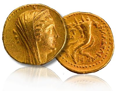 An extremely rare ancient gold coin was uncovered in 2010 in the excavations of the University of Michigan and University of Minnesota at Tell Kedesh in Israel near its Lebanese border. The coin is 2,200 years old and was minted in Alexandria, Egypt in 191 BCE. The Israel Antiquities Authority says the coin is the heaviest and has the highest contemporary value of any coin ever found in an excavation in Israel. The coin weighs almost one ounce (27.71 grams), while most ancient gold coins weighed 4.5 grams. The denomination is called a mnaieion, meaning a one-mina coin, and is equivalent to 100 silver drachms, or a mina of silver. It is plausible that the second-century BCE mnaieia actually depict cryptic portraits of the reigning queens. Consequently, the queen represented on the Tell Kedesh mnaieion may actually be Cleopatra I, daughter of Antiochus III, whose marriage to Ptolemy V in 193 sealed the formal end of the Fifth Syrian War.