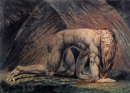 """Nebuchadnezzar"" copper engraving by William Blake, 1795."