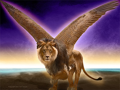 The Lion with Wings. digital art by Ted Larson.