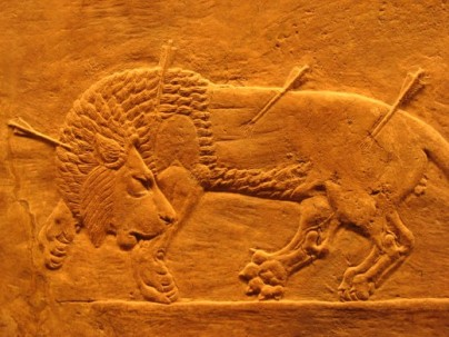 Bass Relief of Royal Lion Hunt from Nineveh Palace