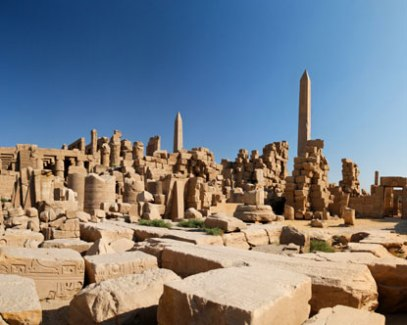 In the ancient city of Thebes, the sprawling Temple of Karnak covers more than 200 acres