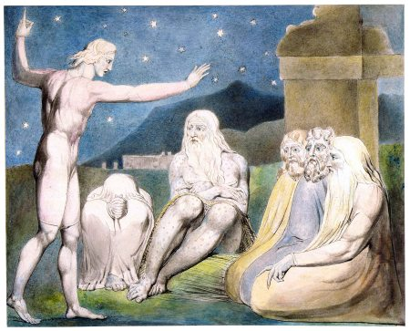"""Elihu teaches Job"" by William Blake, 1805 (Morgan Library, New York)"