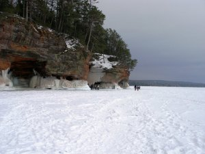 Lake Superior's Apostle Islands sea caves, completely frozen.