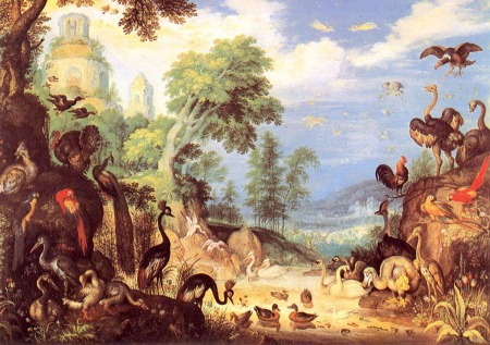 """The Garden of Eden""  by Roelandt Savery -- all these wonderful creatures created by a wise and loving God!"