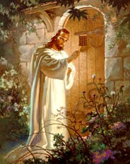 This painting of Christ knocking on the door, by Walter Sallman, hung on the living room wall of my house as I was growing up.  My Mother made sure we saw that there was no knob -- the door had to be opened to Christ from the inside.