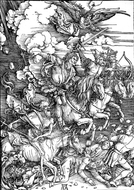 "Albrect Durer's woodcut ""Four Horses of the Apocalypse"", c. 1497 (Metropolitan Museum of Art, NYC)"
