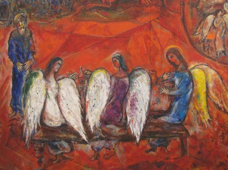 """Abraham and the Three Visitors"" by Marc Chagall"