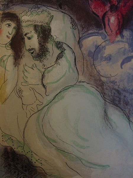 """Sarah and Abimelech"" lithograph by Marc Chagall, early 1960's. Dream coming in the nick of time!"