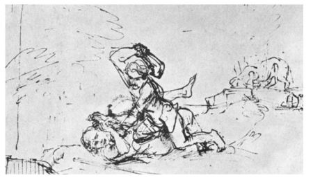 """""""Cain Killing Abel""""  by Rembrandt (The Royal Collection of Prints and Drawings, Statens Museum, Copenhagen)"""