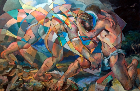 """""""Jacob Wrestling the Angel""""  by Edward Knippers"""
