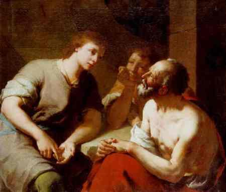 Joseph interprets the butler and baker's dreams. Domenico Maggiotto,
