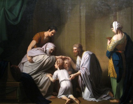 """Jacob Blessing Ephraim and Manasseh"" by American artist Benjamin West, 1768 (Allen Memorial Art Museum, Oberlin, Ohio)"