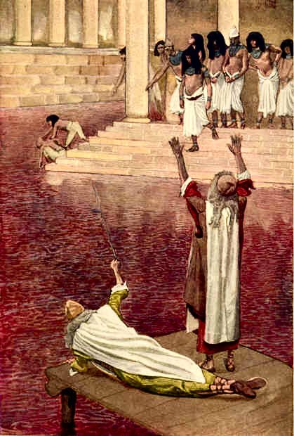 """The Nile Turns to Blood"" watercolor by James Tissot, 1900"