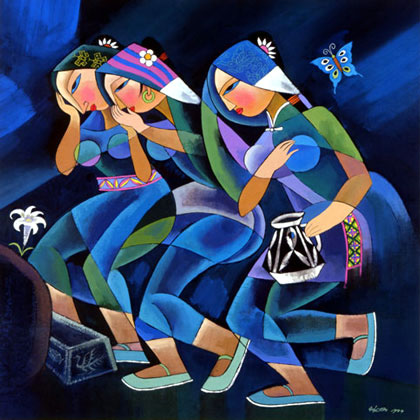 """Women Arriving at the Tomb"" by contemporary Chinese artist He Qi"