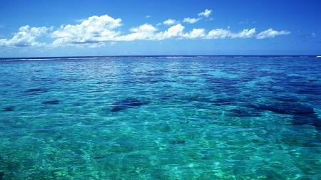 Water is the most abundant compound on Earth's surface, constituting about 70% of the planet's surface.  These still waters are off the coast of Tahiti.
