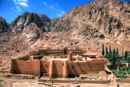 The Sinai Peninsula's Mount Sinai (aka Mount/Gebel Horeb, Mount/Gebel Musa) rises behind the storied, 4th century St. Catherine's Monastery, the oldest continuously operating Christian monastery in existence today.