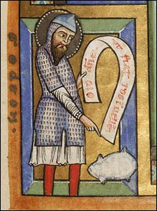 Gideon pointing to the fleece — illustrated manuscript from the 1170's (Getty Museum)