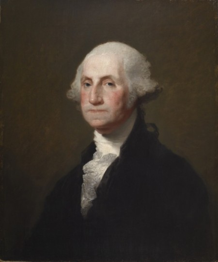 George Washington wrote his Farewell Address -- portion quoted below -- in 1796. (Portrait by Gilbert Stuart, 1795)