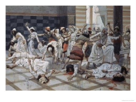 """""""Saul Commands Doeg to Slay the Priests,"""" by James Tissot"""