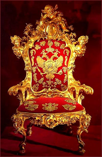 The throne of Tsarina Elizabeth, daughter of Peter the Great, 1742 (Kremlin Armoury, Moscow)