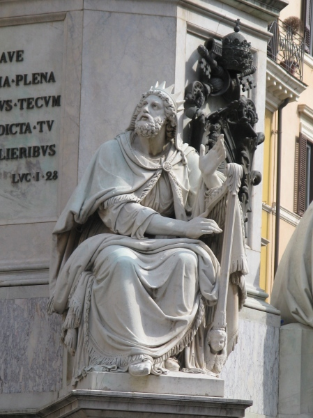 King David by Adamo Tadolini on the base of the Colonna dell'Immacolata, Rome Italy