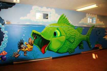Hello, Jonah!  Wall mural by Jerry Wallace.