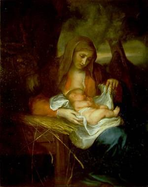"""Sir Anthony Van Dyck (Flemish painter, 1599-1641), """"Madonna della Paglia (Madonna of the Straw)"""" Galleria Nazionale d'Arte Antica, Rome, Italy."""