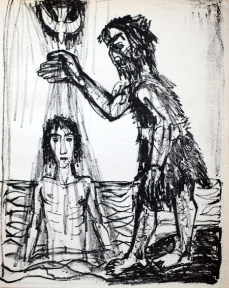 """The Baptism of Jesus"" by German Expressionist painter and printmaker Otto Dix, 1960."
