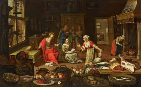"""Christ at the home of Martha and Mary"" by Georg Friedrich Stettner"