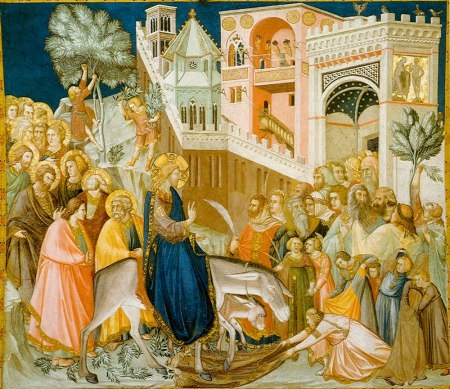 Jesus enters Jerusalem and the crowds welcome him, by Pietro Lorenzetti, 1320