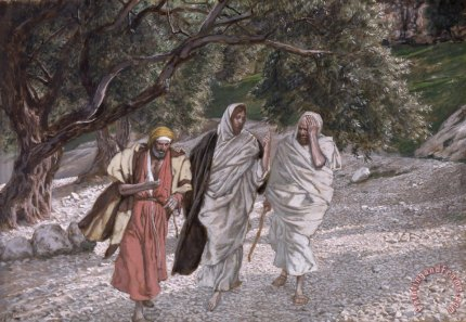 """The Disciples on the Road to Emmaus""  by Tissot"